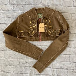 Miss me Womens Half Jacket size Small wings studs